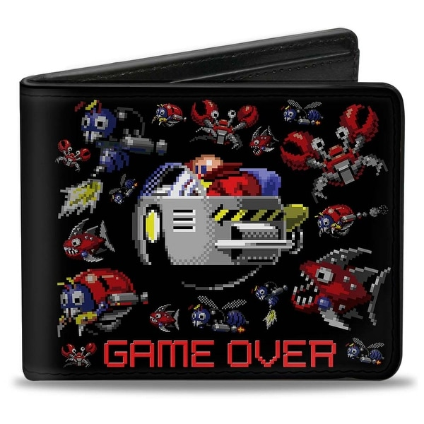 Sonic Classic Doctor Eggman Badniks Game Over + Sonic Fall Pixelated Bi Bi-Fold Wallet - One Size Fits most