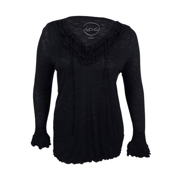 INC International Concepts Women's Plus Size Ruffled Lace-Up Top