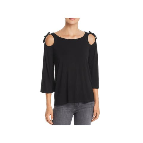 Design History Womens Blouse Cut Out Tie