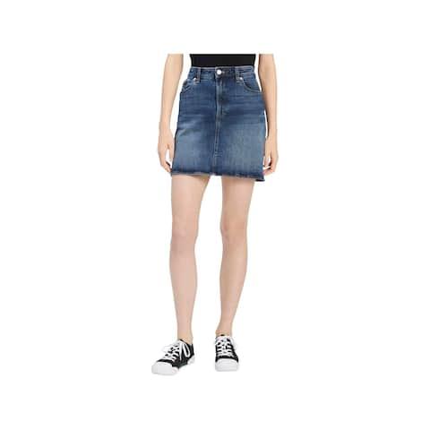 Calvin Klein Jeans Womens Mini Skirt Denim Medium Wash
