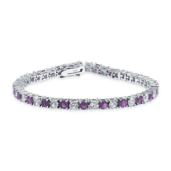 ba431373e01dec Shop Silver Tone Rhodium Plated Brass CZ Purple Amethyst Color Tennis  Bracelet 7.5in - Free Shipping On Orders Over $45 - Overstock - 25323229