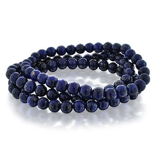 Bling Jewelry Set of 3 Simulated Lapis Gemstone Beaded Stretch Bracelet 6mm - Blue