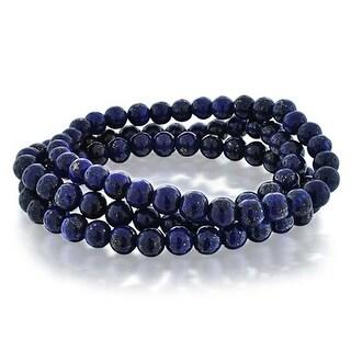 Bling Jewelry Set of 3 Imitation Lapis Gemstone Beaded Stretch Bracelet 6mm - Blue
