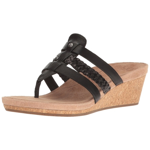 UGG Australia Womens Maddie Leather Open Toe Casual Platform Sandals