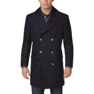 Tallia Orange Label Mens Wool Blend Peacoat Overcoat Dark Navy Blue Medium M