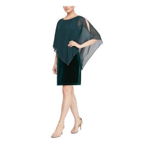 SLNY Green Short Sleeve Knee Length Dress 4