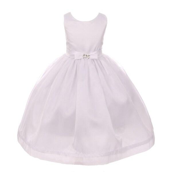 5bf62c5a107d2 Kiki Kids Little Girls White Satin Puffy Organza Bow Flower Girl Dress