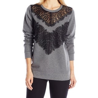 French Connection NEW Gray Lacy Women's Size Medium M Crewneck Sweater
