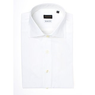 Valentino Men's Slim Fit Cotton Dress Shirt White-Pinstripe-White