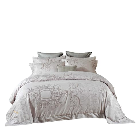 6 Pieces Duvet Cover Set with Luxury Jacquard Top and 100% Cotton Inside
