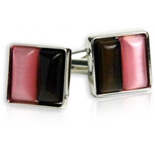 Pink and Brown Cufflinks