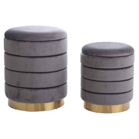 Harp & Finial Hollace Ottoman with Gold Metal Band (Set of 2)