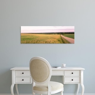 Easy Art Prints Panoramic Images's 'Road along farmland, Midwest, USA' Premium Canvas Art