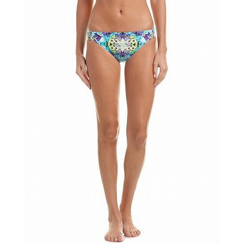 PAPAYA HOLIDAY blue white multi side detail bikini bottoms NEW size 12