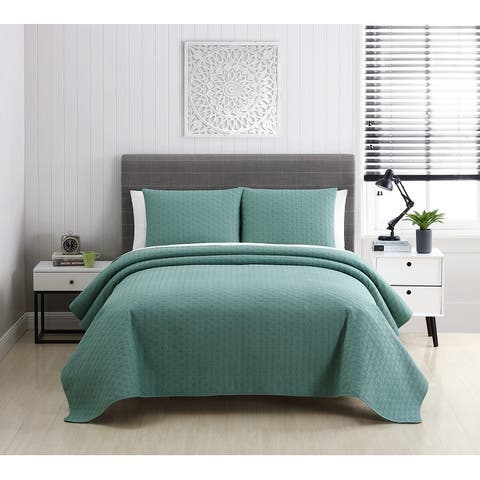 Tansy Embroidered Cotton Quilt Set Collection - Multiple Colors