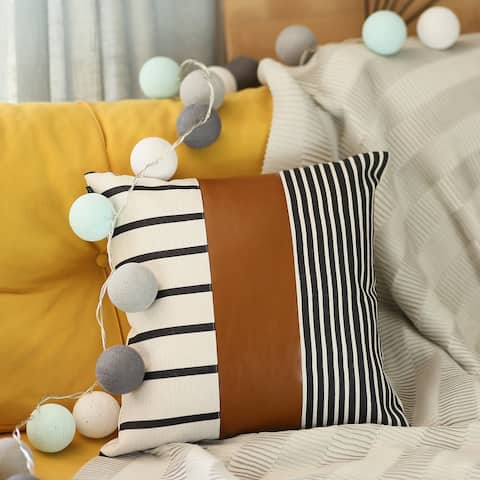 Decorative Vegan Faux Leather Throw Pillow Cover & Inserts