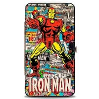Marvel Comics Invincible Iron Man Standing Pose Stacked Retro Comics Hinged Hinge Wallet One Size - One Size Fits most
