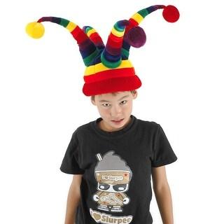 Rainbow Wacky Jester Plush Costume Hat - Multi-Colored