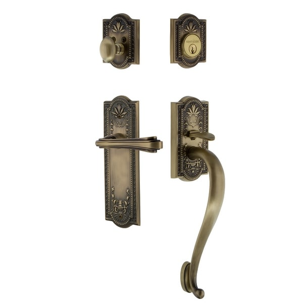 Nostalgic Warehouse MEAFLR_ESET_238_SG_RH Meadows Right Handed Sectional Single Cylinder Keyed Entry Handleset with S Grip and