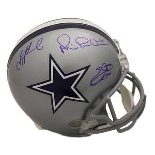 Dallas Cowboys Triplets Autographed Replica Helmet Aikman Emmitt Irvin BAS