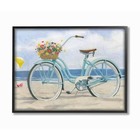Stupell Industries Peaceful Blue Bike Beach Sky Nautical Painting Framed Wall Art