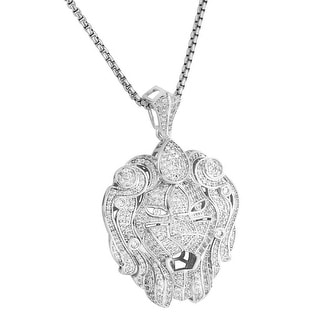 Zar Lion Head Pendant Silver Tone Full Iced Out Lab Diamonds Necklace