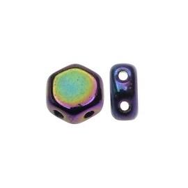 Czech Glass Honeycomb Beads, 2-Hole Hexagon 6mm, 30 Pieces, Jet Purple Iris