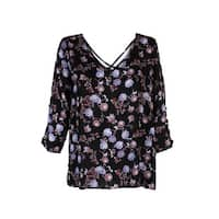 Hippie Rose Juniors Black Multi Tab-Sleeve Floral Blouse L