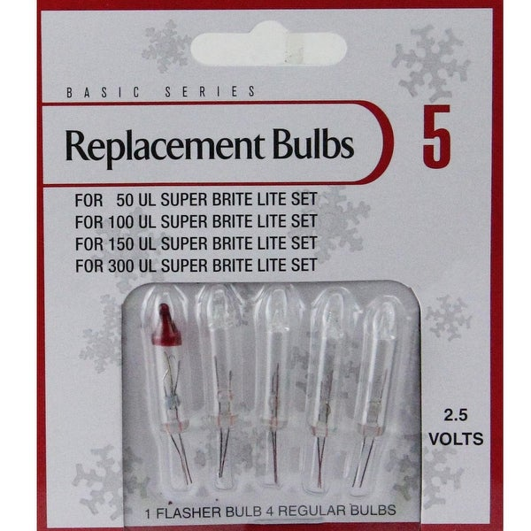 Pack of 5 Clear Push-In Mini Replacement Christmas Light Bulbs 2.5 Volt