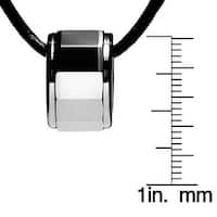 Chisel Tungsten Carbide Beveled Band Slide Pendant on Thin 18 Inch Leather Cord Necklace (2 mm) - 18 in