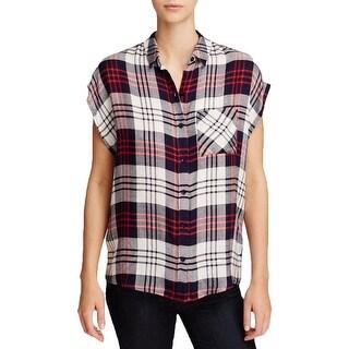 WAYF Womens Button-Down Top Plaid Cap Sleeves