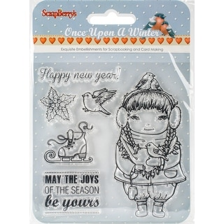 """Scrapberry's Once Upon A Winter Clear Stamps 4""""X4""""-#2: Happy New Year, May The Joys, Icons"""