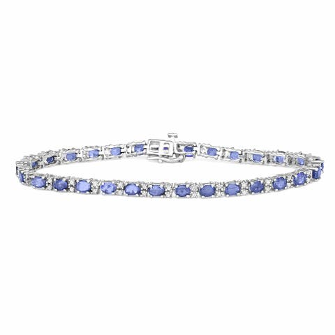 HDI 0.50CT Diamond 6.5CTTW Tanzanite Bracelet