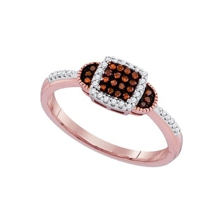 10kt Rose Gold Womens Round Red Colored Diamond Square Cluster Fashion Ring 1/5 Cttw - White