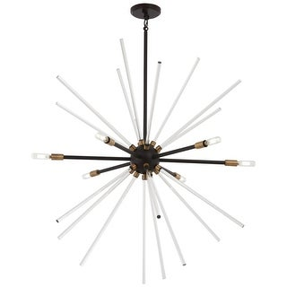 "Kovacs P1794-416 Spiked 6 Light 35"" Wide Sputnik Chandelier with Clear Glass Bar"