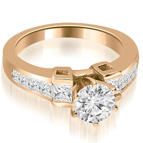 1.75 cttw. 14K Rose Gold Channel Diamond Princess and Round Engagement Ring