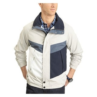 Nautica Colorblock Bomber Jacket Large Sand Windbreaker and Water Resistant