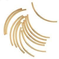 22K Gold Plated Curved Noodle Tube Beads 2mm x 38mm (12)