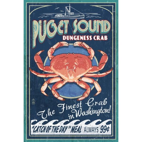 Puget Sound WA Dungeness Crab Vint Sign LP Artwork (Acrylic Wall Clock)