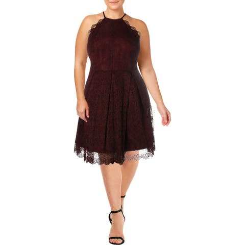 Laundry by Shelli Segal Womens Cocktail Dress Lace Halter - Burgundy