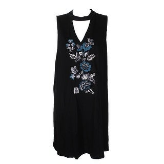 Kensie Black Embroidered Choker Dress XL