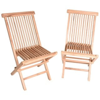 Zenvida Teak Wood Folding Patio Dining Chair Set Of 2 (2 Chairs)