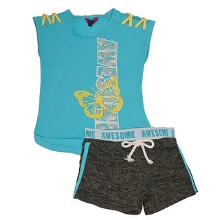 Little Girls Turquoise Yellow Strap Butterfly Print 2 Pc Shorts Outfit