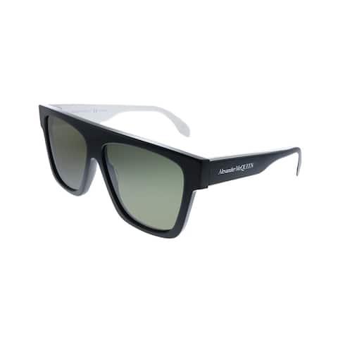 Alexander McQueen AM 302S 003 Unisex Black Frame Green Lens Sunglasses