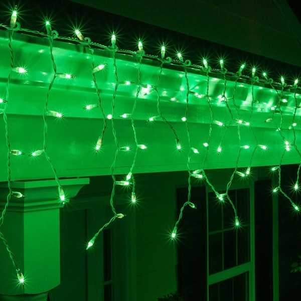"""Wintergreen Lighting 15241 Mini Icicle Lights with 4"""" Spacing and White Wire - green - N/A"""