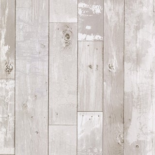 Brewster 347-20131 Heim White Distressed Wood Panel Wallpaper