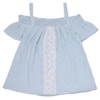 Little Girls Blue Stripe Lace Panel Off-Shoulder Short Sleeved Shirt