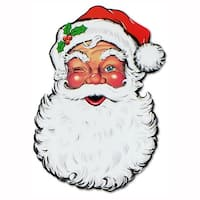 Pack of 12 Double-Sided Traditional Santa Claus Face Cutout Christmas Decorations 26""