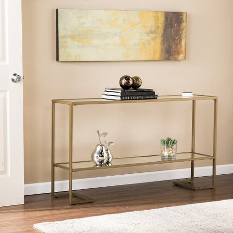 Silver Orchid Grant Glam Goldtone Console Table