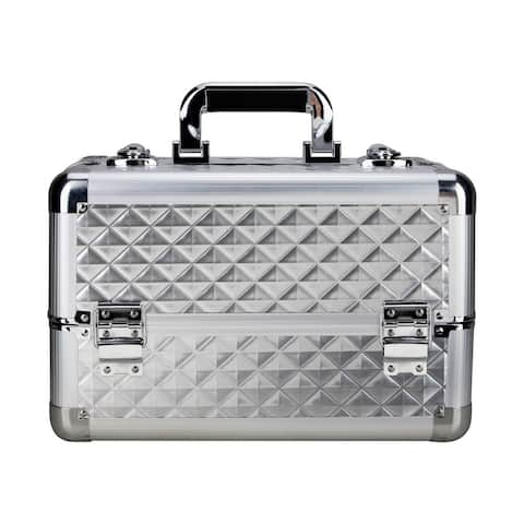 Justcase Silver Diamond 4 Extendable Trays Makeup Case with Dividers